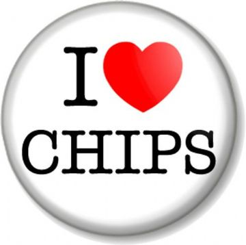 I Love / Heart CHIPS Pinback Button Badge fish and favourite food potato fun carbs